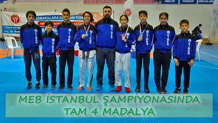 Cihan SK Milli Eğitim Bakanlığı Taekwondo Şampiyonasından 4 madalya ile yüzleri güldürdü